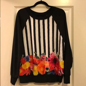 Trina Turk Striped Floral Top